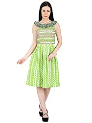 Woodin Frilled Boat Neck Graphic Print Knee long Dress for Women