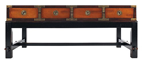 Bombay Salon Table In Black - Folding Coffee Table - Features 8 Drawers - Solid Wood Construction In Black And Honey Finish With Brass Accents - Authentic Models Mf097