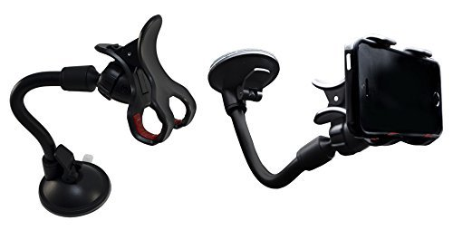 Lilware Soft Long Tube Claws Universal Car Phone / GPS / PDA / MP3 Player Holder With Extra Secure - Suction System. Multifunctional Auto Phone Mount with Max Opening 83 mm and 360 Degree Rotating System. Black / Red