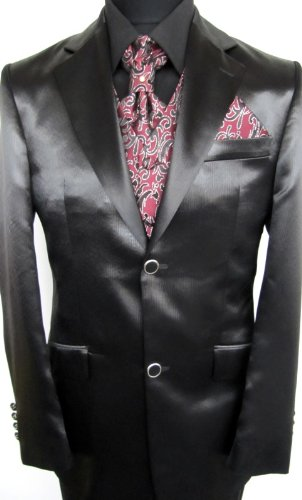 MUGA mens Satin Wedding Suit, Striped, Black, size 38R (EU 48)