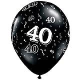 "11"" 40 Around Onyx Black Latex Balloons (10 per package)"