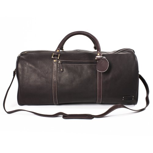The 'Weekender' XL Leather Travel Bag (rich brown)