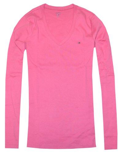 Tommy Hilfiger Women Long Sleeve Logo V-Neck T-Shirt