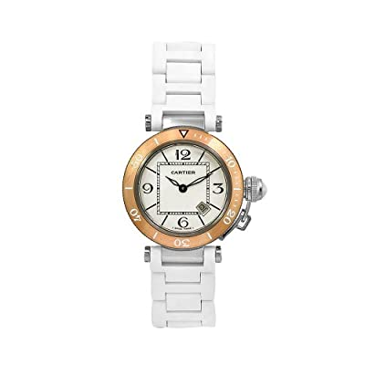 Cartier Women's W3140001 Pasha White Rubber 18k Gold Bezel Watch