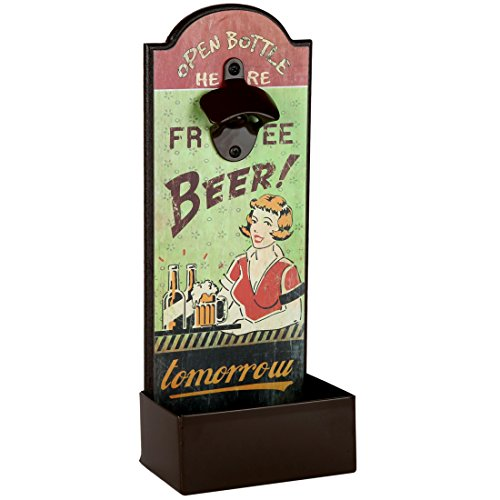 Lily`s Home Vintage Humorous Beer Bottle Opener With Cap Catcher, Father`s Day Gift