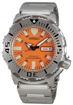 DELUXE VALUE PACKAGE Seiko Orange Monster skx781 Stainless Steel 200m Automatic Professional Diver Watch Spring Remover Link Band Tool Extra Rubber Ba