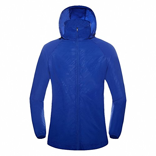 Maoko Sports Outdoor Running Windbreaker Jacket with Hood- Lightweight Sun UV Protection Royalblue (Varsity Jacket Hooded Light Blue compare prices)