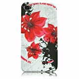 Xtra-Funky Exclusive Soft Silicone Flower Floral & Butterflies Case for Apple iPhone 4 & 4S (Red Floral)by Xtra-Funky