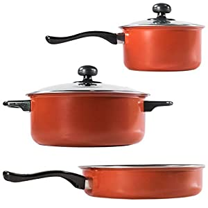 TukTek Kitchen Tech Stainless Steel 7 Piece Non Stick Pot & Pan Cookware Set
