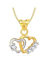 Vina Art Of Love Heart Shape Gold And Rhodium Plated Pendant - P1166G [VKP1166G]