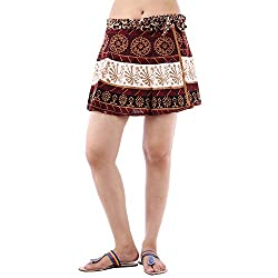 Fashiana Women's Cotton Mini Wrap Around Skirt(FSKT115KT_Brown_Free Size)