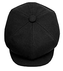 Men's Wool Felt Big Apple Newsboy 6 Panel Ivy Cabbie Caps Black Golf Hats (S/M)