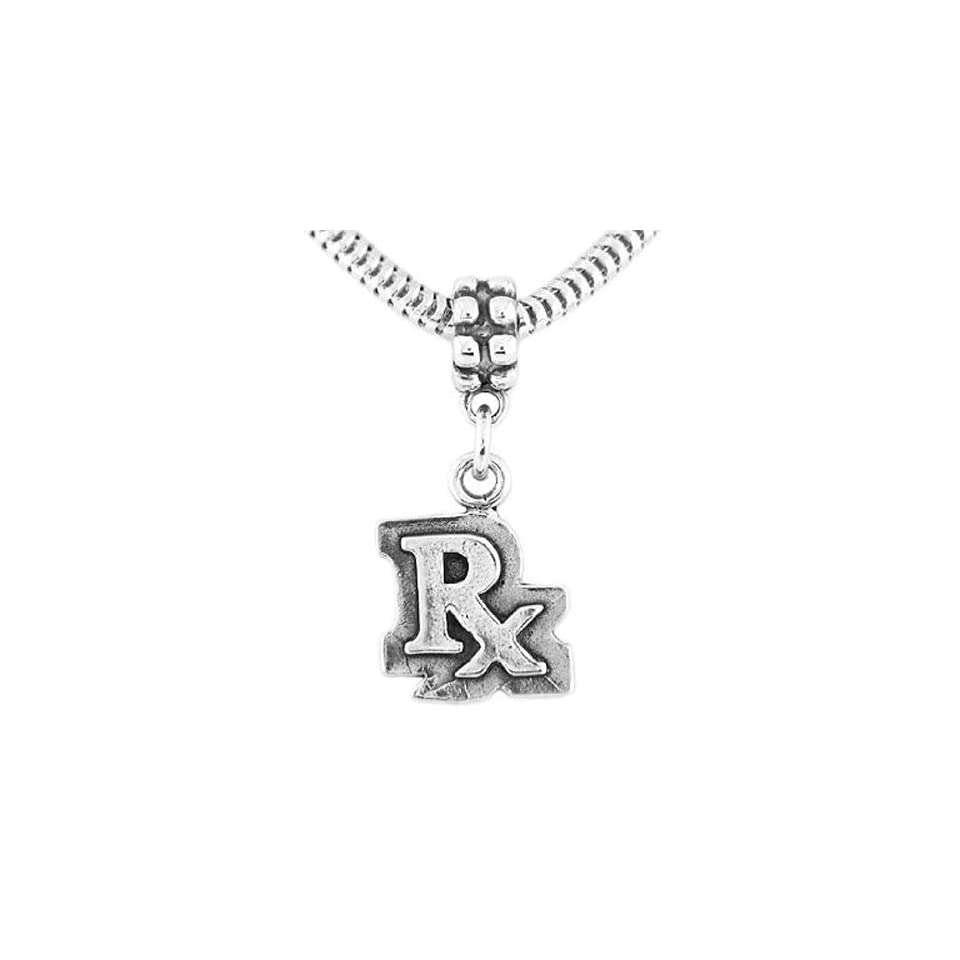 7bfc00b9339a3 Sterling Silver Pharmacist Rx Symbol Dangle Bead Charm Jewelry on ...