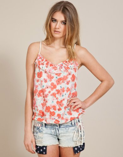Soul Cal Deluxe Poppy Camisole Top - Red - Womens
