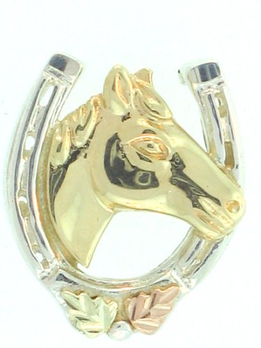 Sterling-silver Yellow-gold Black Hills Gold Horse-shoe-and horse-head Tie-tac and Lapel Pin