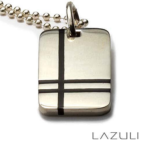 Sterling Silver and Resin Rectangular Crossroads Tag Pendant