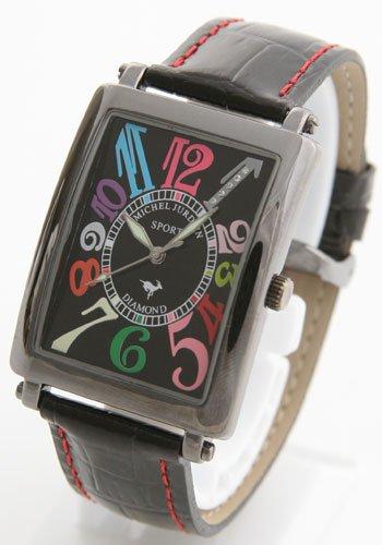 [ミッシェルジョルダン]MICHELJURDAIN 腕時計 スポーツ ダイヤモンド レザー オールブラック SG3000-4 メンズ