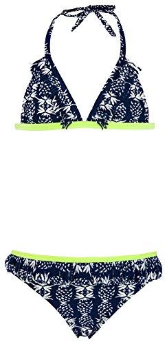 Snapper Rock Mädchen Rüschen Bikini UV UPF 50+ Süβ & Flott Sommer Badekleidung für Kinder & Teenager, Dunkelblau, 11-12 jahre, 152-158cm