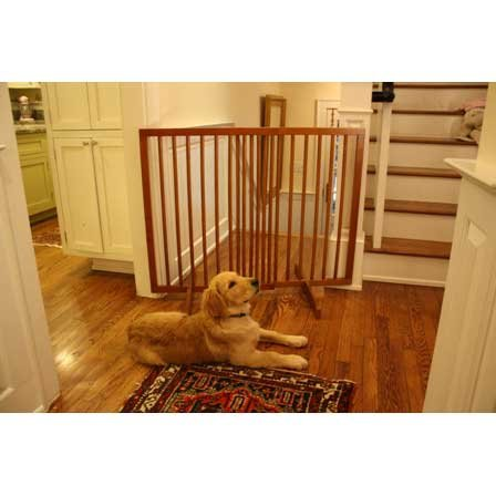 Extra Tall Freestanding Pet Gate Finish: Oak front-852081