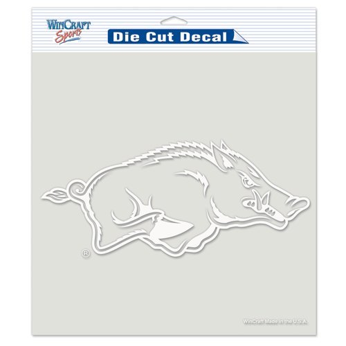 Arkansas Razorbacks NCAA Vinyl Die Cut Window Decal Auto Car Logo White 8x8 Sticker College Licensed Team Logo (Razorback Truck Accessories compare prices)