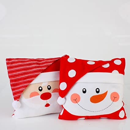 Set of 2 Christmas Whimsy Santa Claus and Snowman Face Throw Pillows