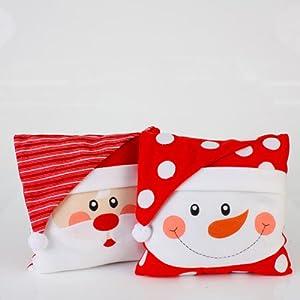 Amazon.com: Set of 2 Christmas Whimsy Santa Claus and Snowman Face Throw Pillows 12