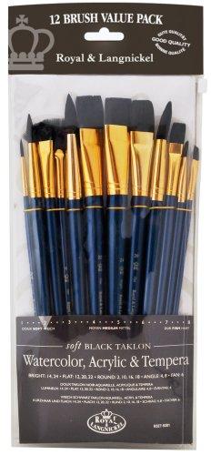 Royal and Langnickel RSET-9301 - Set di pennelli in varie misure con setole morbide in taklon, confezione da 12, colore: nero