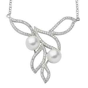 Franki Baker White Pearl, CZ und Sterling Silber Halsketten Collier. 40cm.