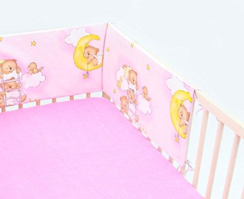 Paracolpi protezione per le sbarre 30x210 ca. per lettino neonato bambino (motivo: orsi in cielo_rosa)