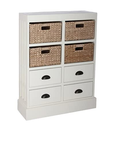 Gallerie Décor Nantucket 4-Drawer & 4-Basket Storage Unit, Cream