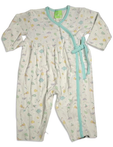 Snopea - Baby Girls Long Sleeve Soap Suds Coverall, White, Aqua 29321-12Months front-877690