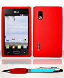 Accessory Factory(TM) Bundle (the item, 2in1 Stylus Point Pen) For LG Optimus Extreme L40g (StraightTalk Net 10) Silicon Skin Case - Red SC Soft Silicone Jelly Rubber Skin Case Phone Protector Cover