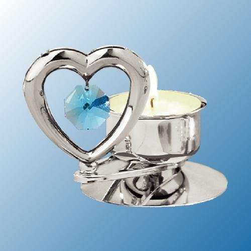 Chrome Plated Elegant Heart Tea-Light..... With Blue Swarovski Austrian Crystal