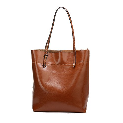 Kattee Women Calfskin Genuine Leather Brown Large Capacity Shoulder Bag