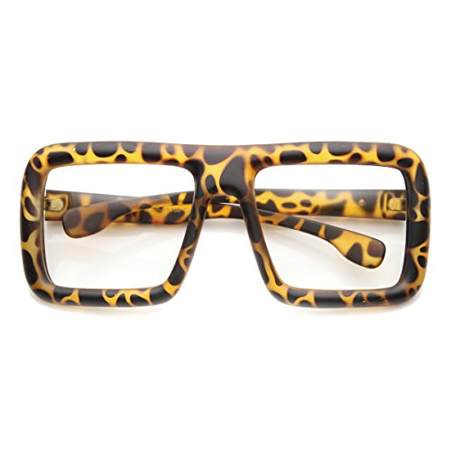 5023581be6 zeroUV - Large Retro-Nerd Bold Thick Square Frame Clear Lens - Import It All