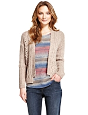 Indigo Collection Patchwork Cable Knit Cardigan with Wool