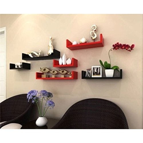 Onlineshoppee Wooden Handicraft Wall Decor Designer Wall Shelf Pack of 6 Black & Red Combo