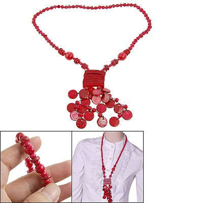 Rosallini Button Beaded Coconut Shell Long Necklace Red for Lady