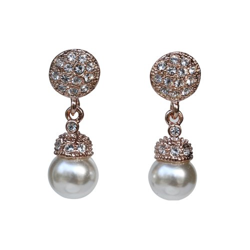 Fashion Plaza 18k Gold Plated Use Swarovski Crystal Pearl Drop Dangle Studs Earring E23