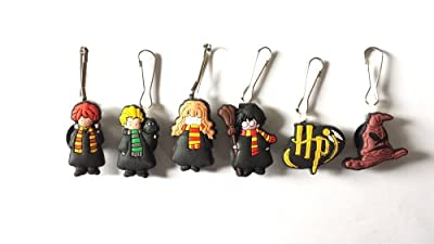 6 pcs Harry Potter Zipper Pull / Zip pull Charms for Jacket Backpack Bag Pendant
