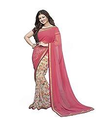VinayTM Elegant Women's Georgette Lace Work Printed Pink Saree With Blouse Material