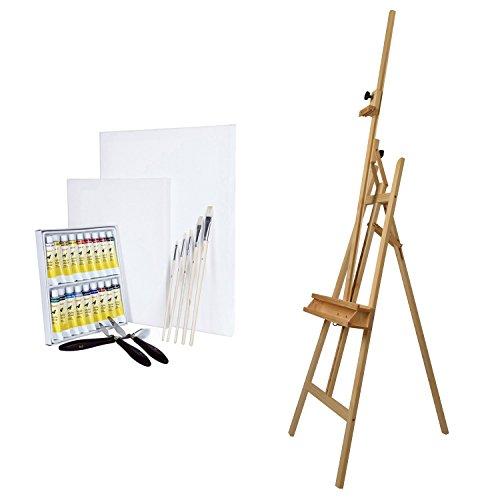 ARTINA® Cavalletto per dipingere Barcelona in legno di faggio+ set pittorico: 18 acrilici, 2 tele, 5 pennelli 3 spatole