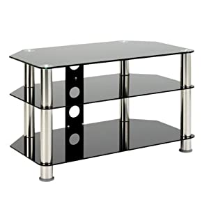 The Best  1home GT3  Glass TV Stand for 23″ 24″ 26″ 27″ 30″ 32″ 33″ 34″ 35″ 36″ 37″ inches Plasma LCD LED 3D TV  Legs 80cm width