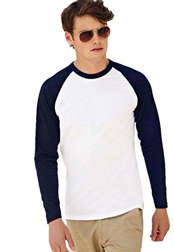 Maglietta Maniche Lunghe Bicolore Uomo Cotone 165 Gr Fruit Of The Loom Baseball, Colore: Bianco/Blu Notte, Taglia: M