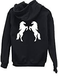 HippoWarehouse Two horses (Printed on the back) unisex Hoodie hooded top
