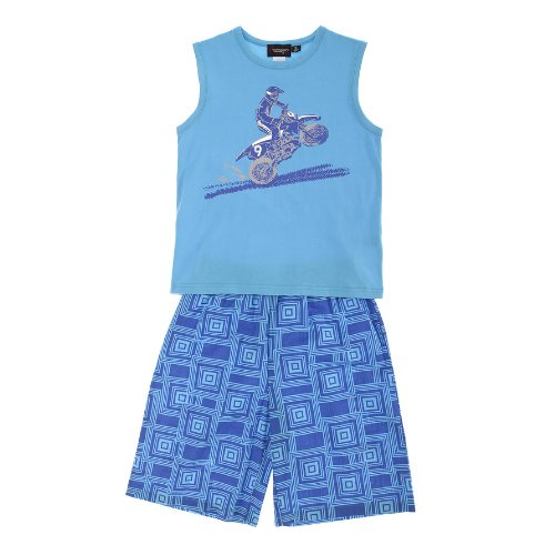 Sovereign Sleepwear Boy Dirt Biker Print Blue Vest And Shorts Cotton Pj Set