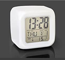 Samshow 7 Colours Change Digital LCD Date Temperature Display Alarm Clock(white)