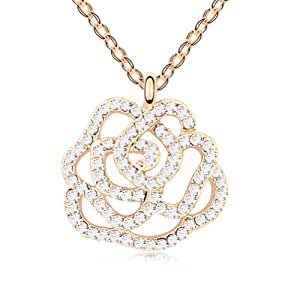 Mondaynoon Austrian Crystal Pendant Necklace for Women love rose (white + champagne)