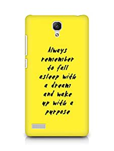 AMEZ always remember to fall asleep with a dream Back Cover For Xiaomi Redmi Note