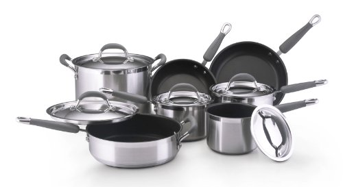 Buy Best Cheap Kitchenaid Gourmet Essentials Brushed Stainless Steel Nonstick 12 Piece Cookware